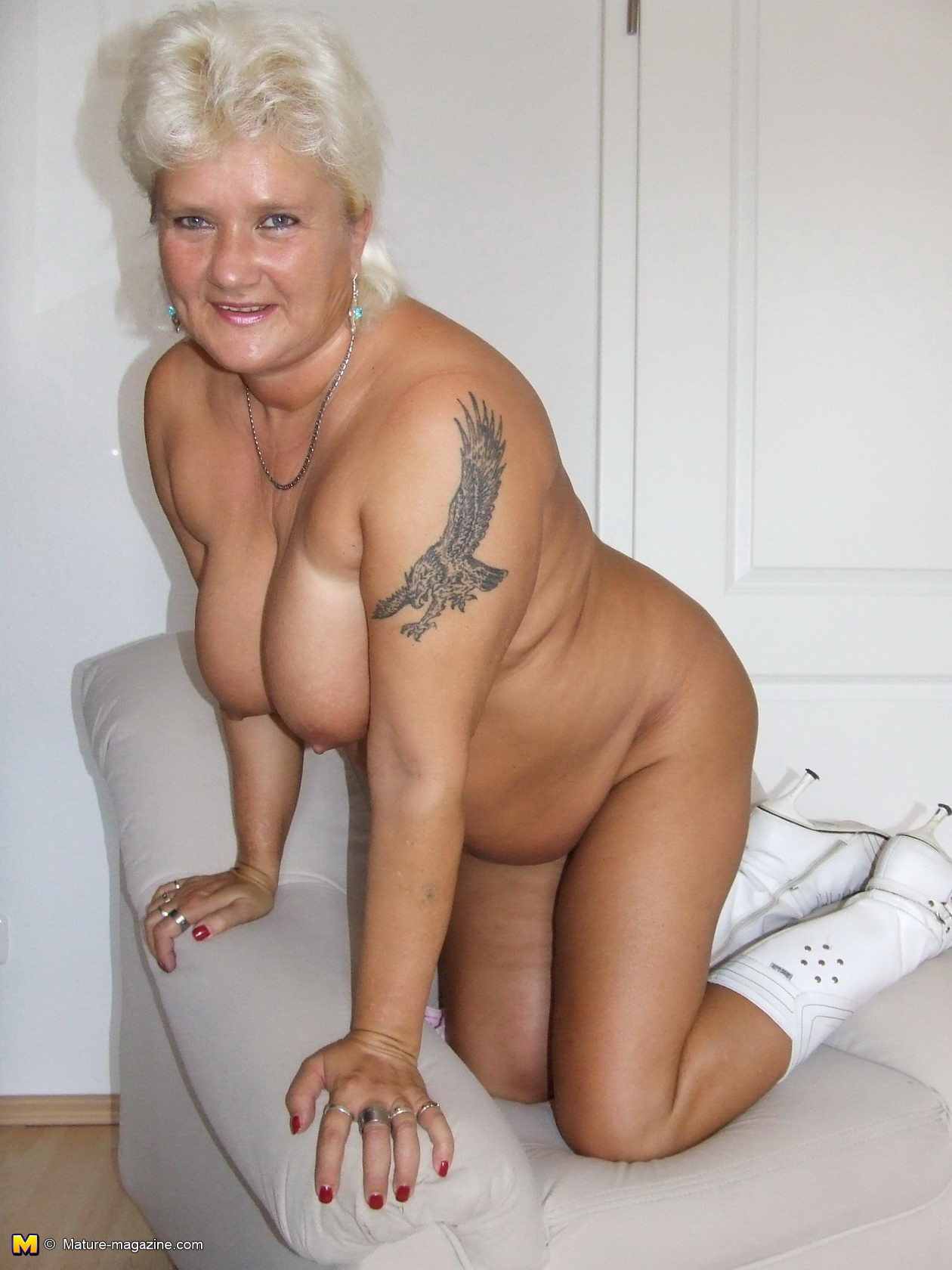 aged white-haired mom demonstrating her busty naked body