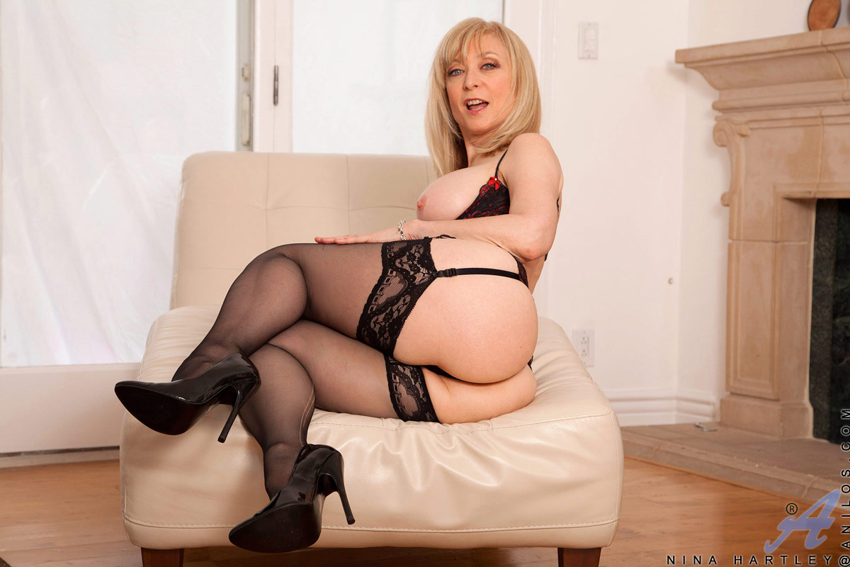 sexy white mom in black stockings